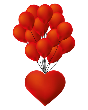 cute heart love and bunch balloons decoration vector illustration