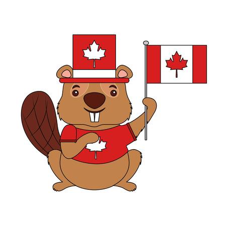 canadian beaver with hat holding canada flag vector illustration Illusztráció