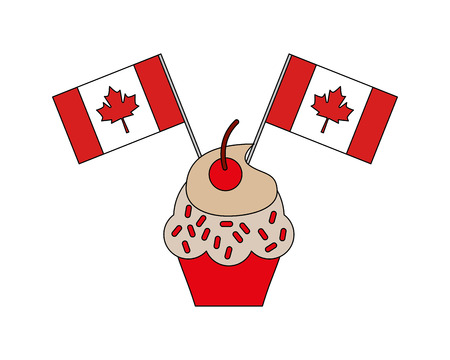 sweet cupcake with flags canada day vector illustration