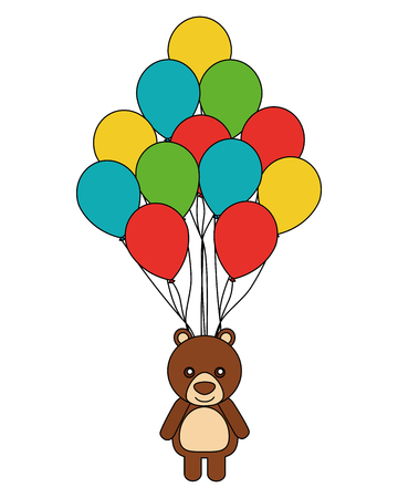 cute bear teddy toy and balloons party vector illustration
