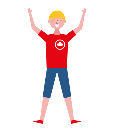 man in celebration canadian vector illustration design Ilustrace