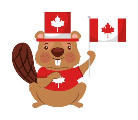 beaver of canada with hat and flag isolated icon vector illustration design
