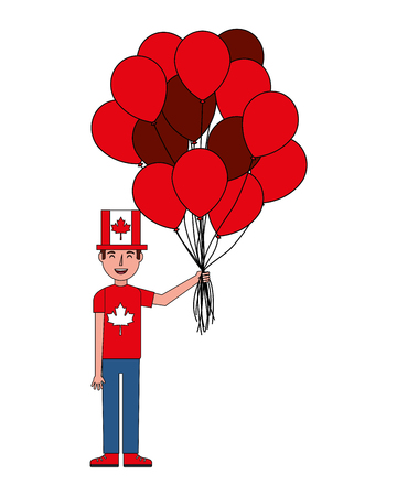 man with canadian flag in hat and balloons vector illustration