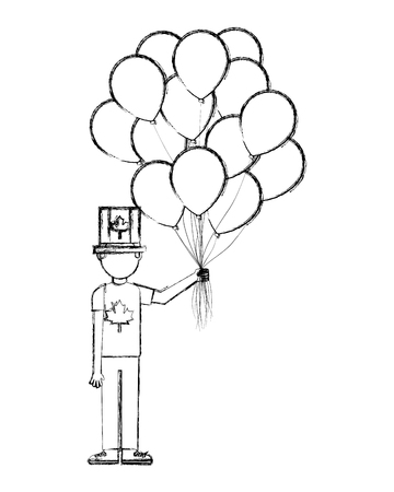 man with canadian flag in hat and balloons vector illustration Banque d'images - 103156588