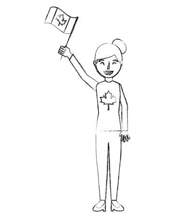 woman holding canadian flag celebration vector illustration Banque d'images - 103065630