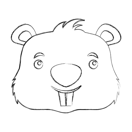 cute beaver head cartoon character vector illustration