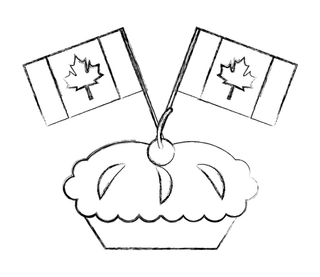 sweet pie cake cherry and canada day flags celebration vector illustration