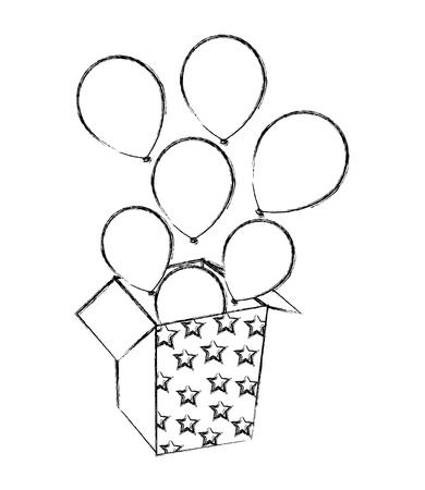 ballons sortant de l & # 39; illustration vectorielle de boîte