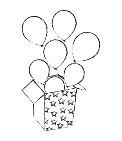 balloons coming out of the box party vector illustration Çizim