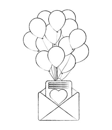 romantic mail letter heart balloons decoration vector illustration Illustration