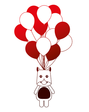 cute hippo toy and balloons decoration party vector illustration neon