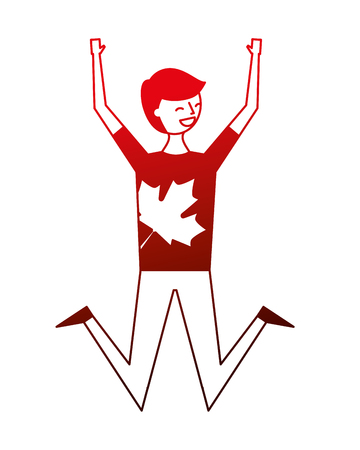 young man celebrating canada day vector illustration neon