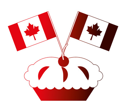sweet cake cherry and canada day flags celebration vector illustration neon