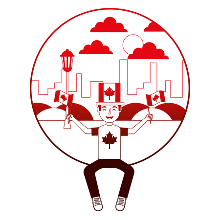 man sitting in city with canadian flags vector illustration neon