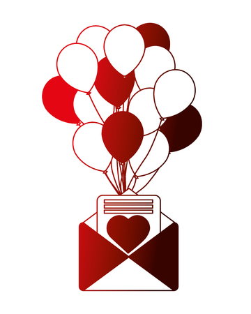 romantic mail letter heart balloons decoration vector illustration neon
