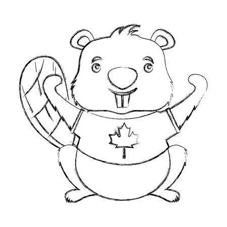 canadian beaver tshirt canada flag vector illustration