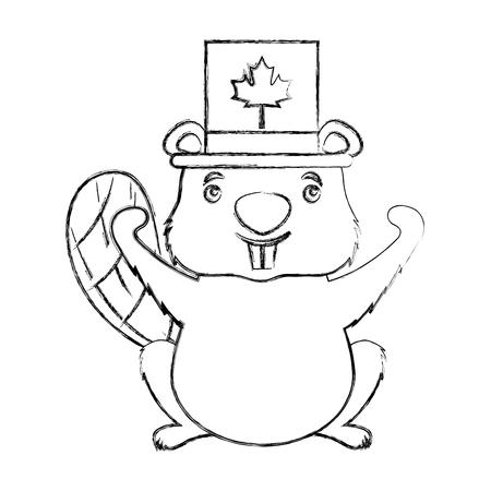 canadian beaver with top hat canada flag vector illustration Illusztráció