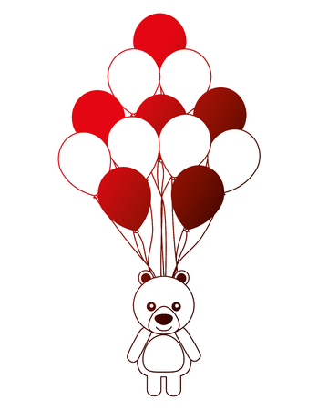 cute bear teddy toy and balloons party vector illustration neon Illustration