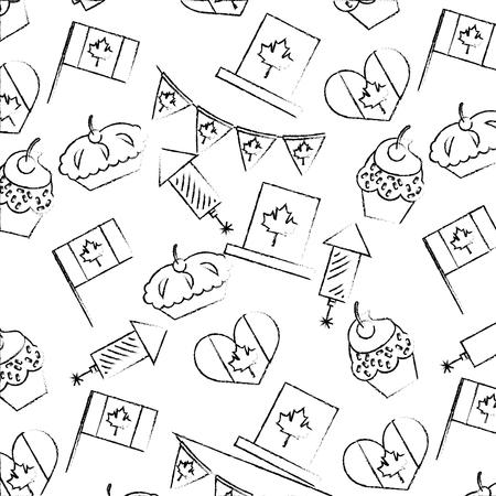 canada day celebration cake fireworks flag heart background vector illustration