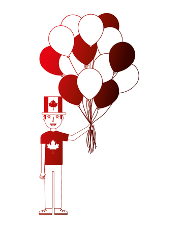 man with canadian flag in hat and balloons vector illustration neon