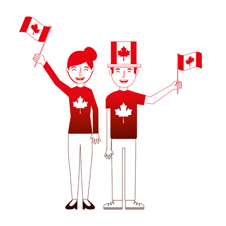 happy couple with canadian flag hat and sweater vector illustration neon