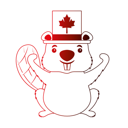 canadian beaver with top hat canada flag vector illustration neon Illustration