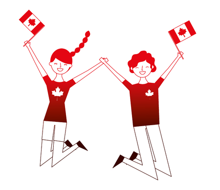happy couple jumping with canadian flag vector illustration neon Illustration