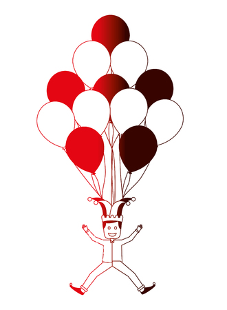 funny jester with balloons air decoration party vector illustration neon