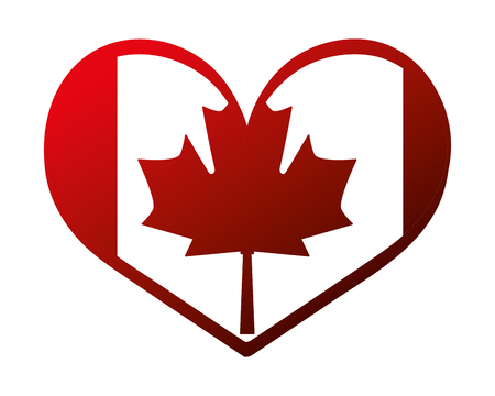 canada day canadian flag in heart vector illustration neon Çizim