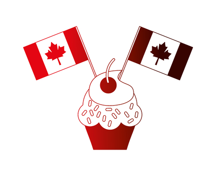 sweet cupcake with flags canada day vector illustration neon Illustration