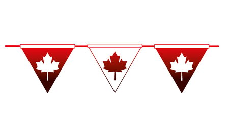 pennant decoration canada day flag vector illustration neon Illustration