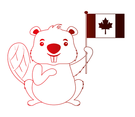 canadian beaver holding canada flag vector illustration neon