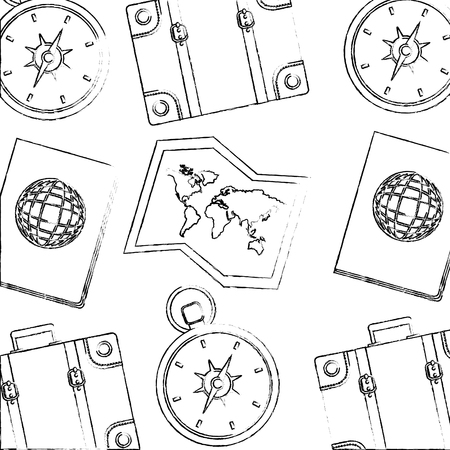 travel passport compass and map background vector illustration