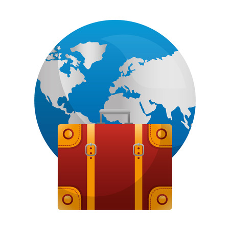 world planet earth with suitcase vector illustration design Illustration