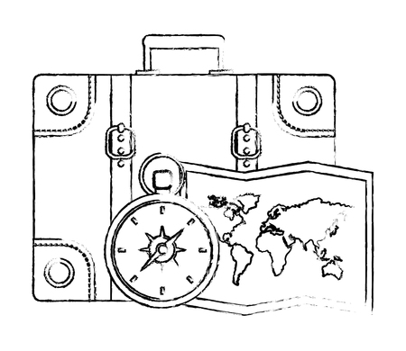 suitcase travel compass and map vector illustration Ilustração