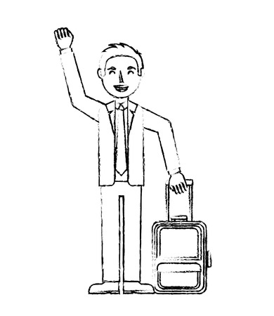 elegant man with travel suitcase tourist vector illustration