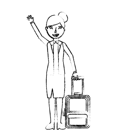 happy woman with travel suitcase tourist vector illustration Ilustração