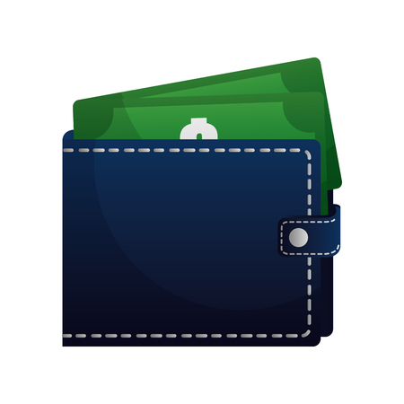 wallet with bills dollars vector illustration design