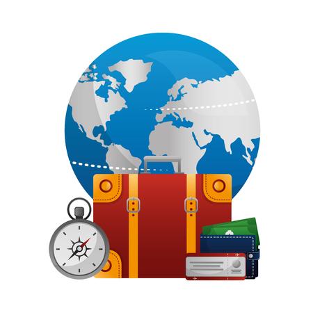 world planet earth with set tourism icons vector illustration design Ilustração