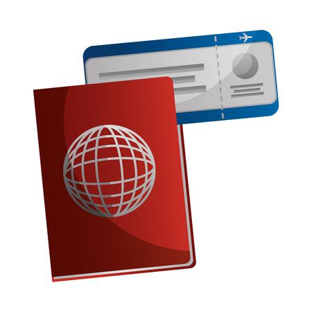 Documento de pasaporte con boleto bancaria ilustración vectorial de diseño Foto de archivo - 103046753