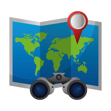 world paper map with binoculars vector illustration design