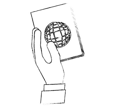 hand holding passport travel tourism vector illustration