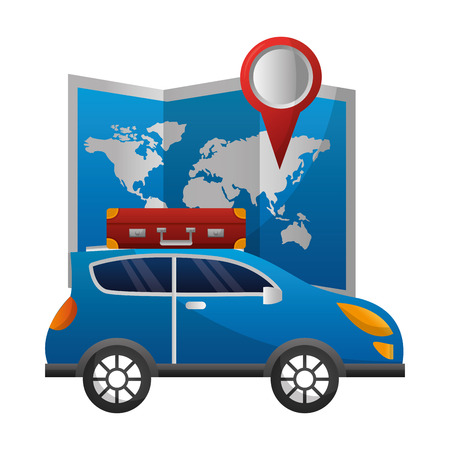 world paper map with car and suitcase vector illustration design Ilustrace