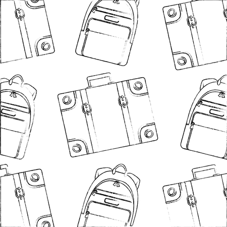 travel suitcase backpack equipment background vector illustration