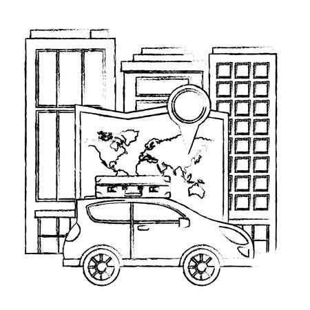 automobile with suitcase map destination city travel vector illustration Illustration