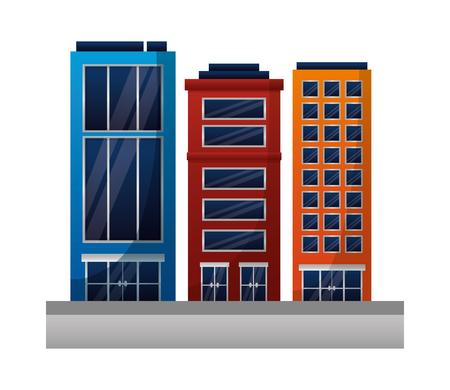 cityscape buildings exterior icons vector illustration design