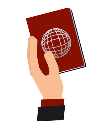 hand with passport document vector illustration design 向量圖像