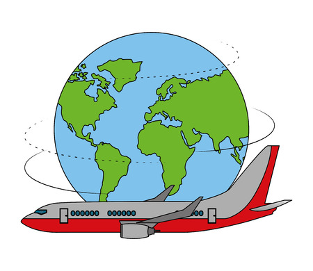 airplane transport travel around of world vector illustration