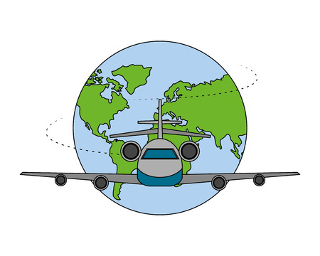 travel world airplane transport vacations vector illustration