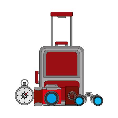 travel suitcase compass and binoculars passport camera vector illustration 일러스트